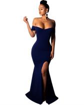Blue Sexy strapless dress