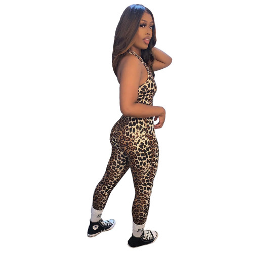 INS fashion casual women's printed leopard print sexy jumpsuit