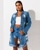 Bule Ripped mid-length ripped jacket denim jacket