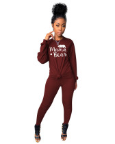 Red Two-piece printed casual set