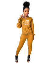 Yellow Two-piece printed casual set