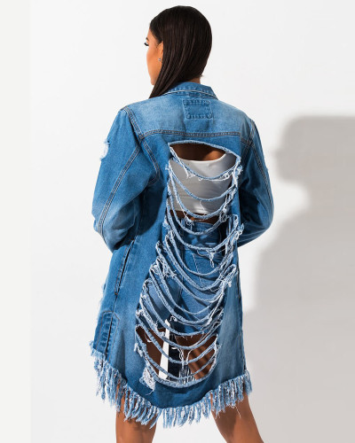 Bule Ripped mid-length ripped jacket denim jacket