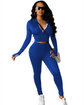 Blue Stitching sexy two-piece suit