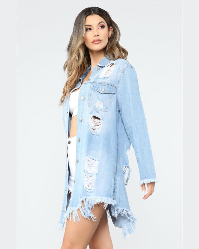 Light bule Ripped mid-length ripped jacket denim jacket