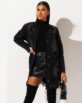 Black Ripped mid-length ripped jacket denim jacket