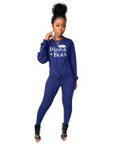Blue Two-piece printed casual set