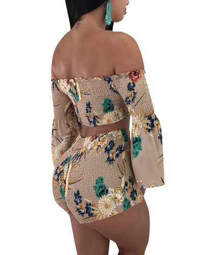 Khaki 2020 INS Net expert fashion Flower embroidery word shoulder trumpet sleeve mini two-piece set