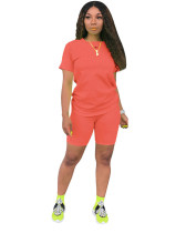 Orange Fashion solid color short-sleeved T-shirt trousers two-piece suit