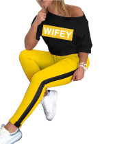 Yellow Two-piece fashion casual English alphabet suit
