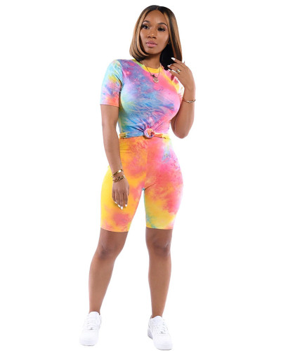 Colorful pink 2020 Ins stylish tie-dye short sleeve T-shirt shorts leisure two-piece work out set