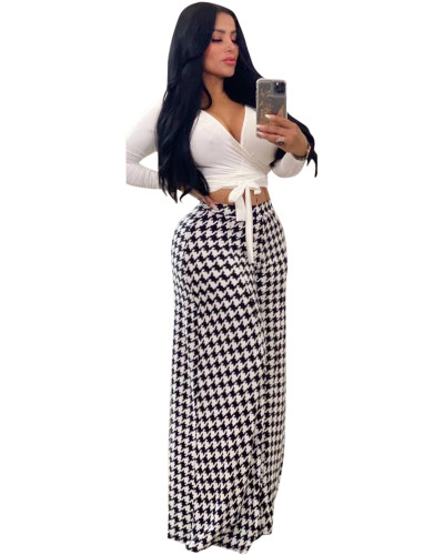White Houndstooth print casual wide-leg pants