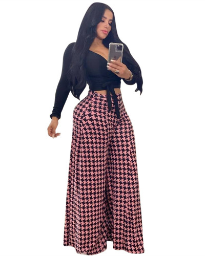 Pink Houndstooth print casual wide-leg pants