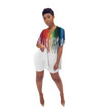 White Digital printed tie-dye stripes two-piece set
