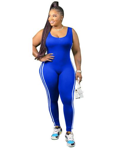 Blue Vest side striped bodysuit one-piece pants