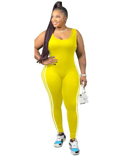 Yellow Vest side striped bodysuit one-piece pants