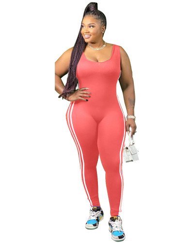 Rose Red Vest side striped bodysuit one-piece pants