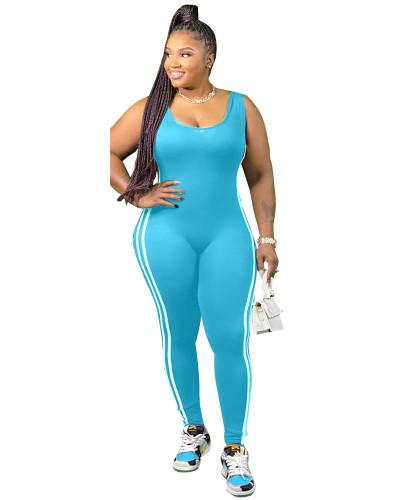 Light Blue Vest side striped bodysuit one-piece pants