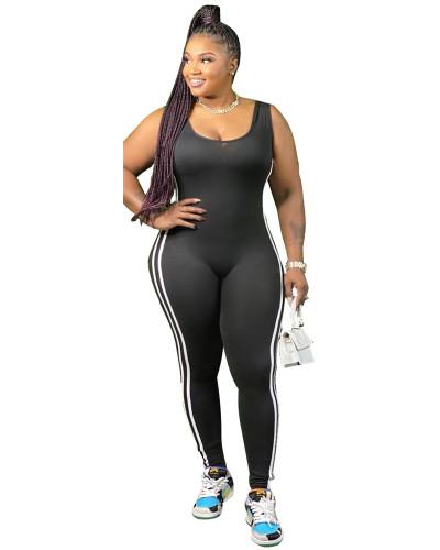 Black Vest side striped bodysuit one-piece pants