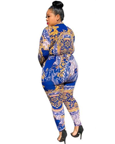 Blue Two-piece suit loose pants