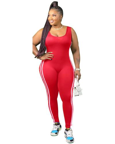 Red Vest side striped bodysuit one-piece pants