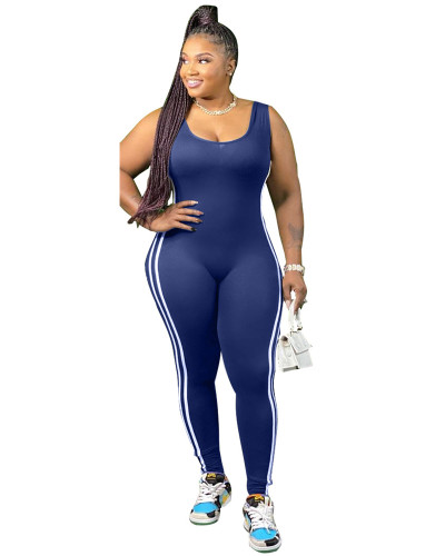 Dark Blue Vest side striped bodysuit one-piece pants