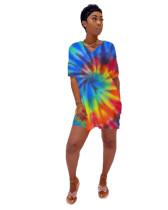 Bule Digital printed tie-dye stripes two-piece set