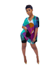 Violet Digital printed tie-dye stripes two-piece set