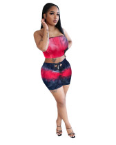 red Ladies Leopard Print Tie Dye Fashion Casual Two-piece Suit