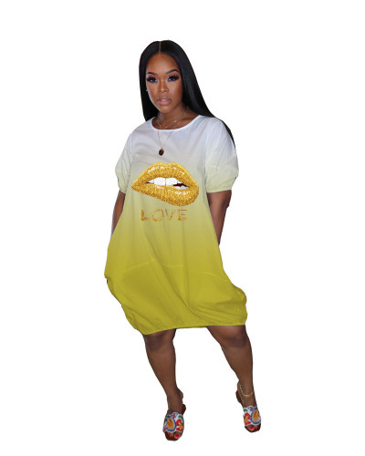 Yellow Gradient pocket loose lip dress