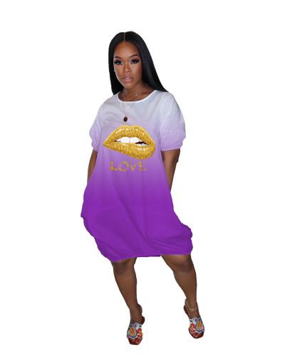 Violet Gradient pocket loose lip dress