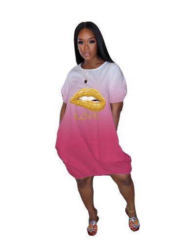 Pink Gradient pocket loose lip dress