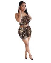 Leopard Ladies Leopard Print Tie Dye Fashion Casual Two-piece Suit