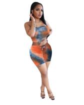 Orange Ladies Leopard Print Tie Dye Fashion Casual Two-piece Suit
