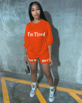 Orange Personalized printing two-piece casual set