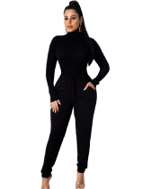 Black Fashion pit high collar autumn and winter base suit