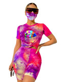 Purple Tie-dyed round neck casual fashion home sports shorts with mask three-piece suit