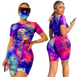Light blue Tie-dyed round neck casual fashion home sports shorts with mask three-piece suit
