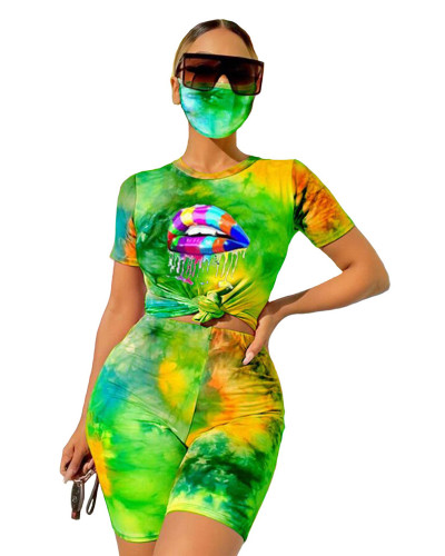Yellow-green Tie-dyed round neck casual fashion home sports shorts with mask three-piece suit