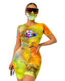 Yellow Tie-dyed round neck casual fashion home sports shorts with mask three-piece suit
