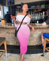 Pink Pleated tube top flared sleeves gradient two-piece suit