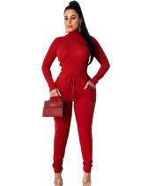 Red Fashion pit high collar autumn and winter base suit