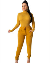 Yellow Fashion pit high collar autumn and winter base suit