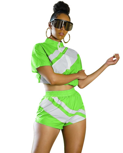 Fluorescent green Women's fashion color matching summer leisure sports suit two-piece suit