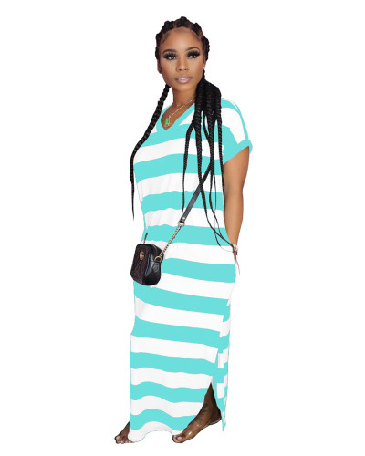 Bllue Striped print dress