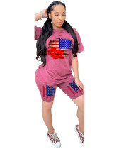 Red Independence Day Personalized Printed Casual Two-piece Set