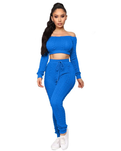 Royal blue Women's hot style sweater set cross-border fashion casual sweater two-piece set