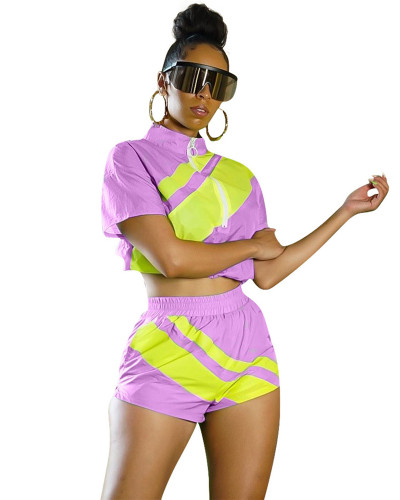 Light purple Women's fashion color matching summer leisure sports suit two-piece suit