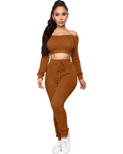 Light brown Women's hot style sweater set cross-border fashion casual sweater two-piece set