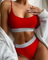 Red High waist bikini split swimsuit