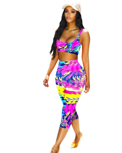 Purple Women's sexy casual printed two-piece suit
